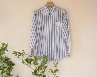 Vintage Striped Long Sleeved Button Down Shirt - Size Extra Large