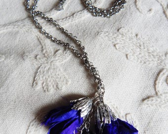 Purple Blossom Amethyst Quartz and Sari Silk Flower Pendant Silvertone Convertible Chain Necklace