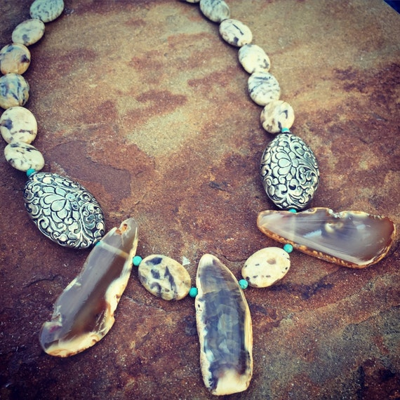 Feldspar Picture Jasper with Agate Slices Statement Necklace and Earring Set