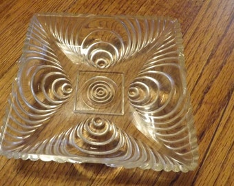 Vintage Square Candy Dish With Spiral Design