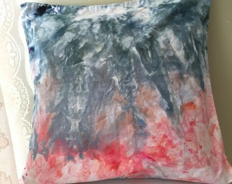 Decorative Teal & Coral Ice Dyed Throw Pillow Cover
