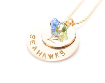 Stamped Seahawks Necklace | Seattle Seahawks Jewelry | Seahawks Handstamped Jewelry | Seattle Gift | Football Fan Necklace | Gift for Her