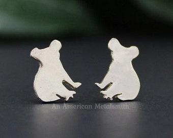 Silver Koala Bear Earrings, Koala Jewelry, Koala, Minimal Earrings, College student Gift, Delicate Earrings, Animal Earrings, Stud Earrings