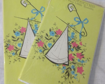 """Vintage 1960s """"Introducing our New Arrival Birth  Announcements by Art Guild In Original Package  Set of two Packages"""
