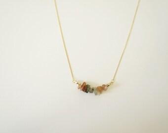 Neutral Gemstone Gold Necklace