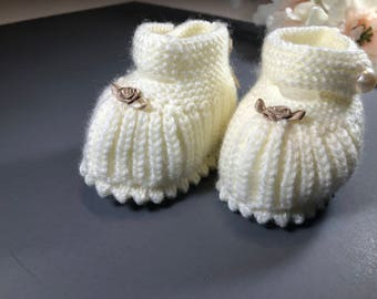 Baby Booties With Rose Bow
