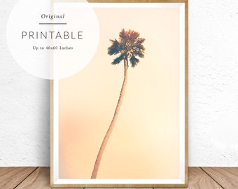 Palm Tree Print, Palm Tree Poster, Palm Tree Wall Art, Palm Tree Photography, Palm Tree Decor, Minimalist, Palm Tree, Pastel, Yellow, Pink