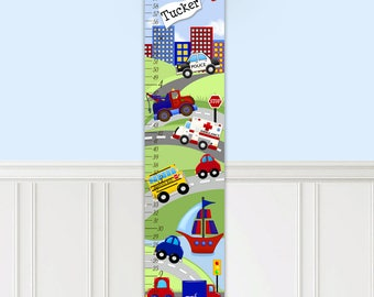 Canvas GROWTH CHART Transportation Rescue Vehicles Cars Trucks Boys Bedroom Kids Baby Nursery Wall Art Personalized Growth Chart GC0085