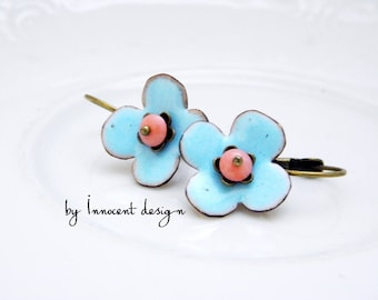 Forgetmenot - enamel earrings - flower - blue-rose