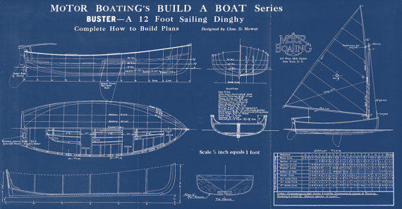 Print of vintage buster boat blueprint from motor boatings build a print of vintage buster boat blueprint from motor boatings build a boat series on your choice of matte paper photo paper or canvas malvernweather Choice Image