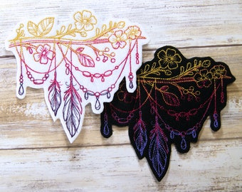 Bohemian Summer Feather Branch Iron On Embroidery Patch MTCoffinz - - Choose Size / Color