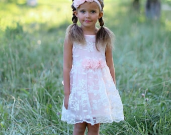 Girls dress, lace flower girl dress, girls dress, girls lace dress, easter dress, Pink lace dress, rustic flower girl dress, birthday dress