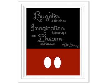 Walt Disney Quote -  Mickey Mouse Digital Print - 8x10