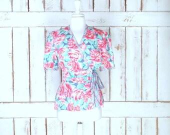 Vintage pink/blue floral silk short sleeve wrap blouse/silk floral wrap top/floral silk shirt/8