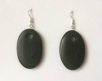 Retro 1980's Black Wooden Oval Statement Dangle Drop Earrings