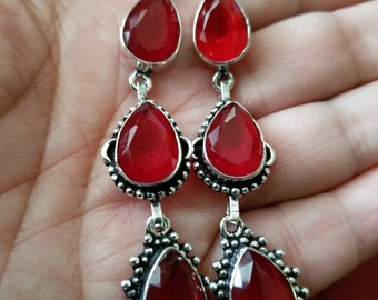 Red Quartz Teardrop Earrings!