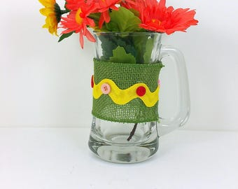 Burlap glass mug yellow and orange flowers with green  button trim 107