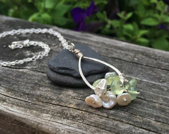 Green Prehnite Gemstone - White Keishi Pearl - Handmade Pendant - Solid Sterling Silver - Custom Necklace Length - 16 18 20 22 24 Inch
