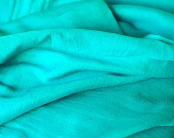 Turquoise Cotton Silk Blend Fabric