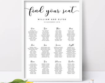 printable seating chart for wedding reception