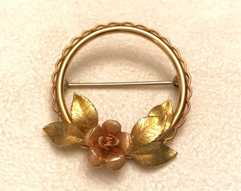 Vintage Krementz Gold Tone Circle Brooch with Rose Gold Rose Flower and Leaves