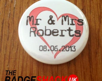 Personalised Wedding Favours pack of 76 Badges or Magnets. Available as 2.5cm badges or 3.8cm badges or magnets