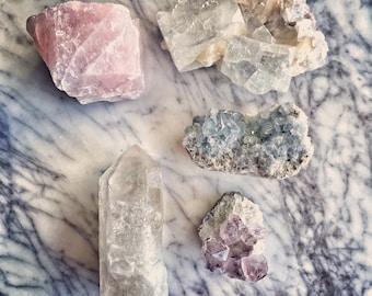 Happy Home Set- Rose Quartz - Amethyst - Quartz Point - Celestite - Apophyllite - Beautiful- Home
