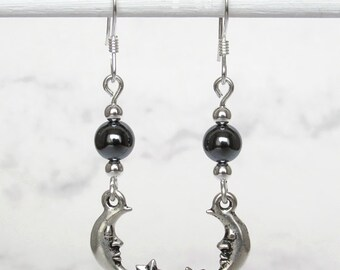 Celestial Crescent Moon and Stars Hematite Earrings, Sterling Silver Beads, Sterling Silver Earwires