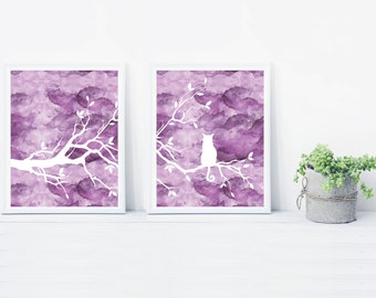 Purple Cat Tree Wall Art Print Set of Two Prints - Watercolor