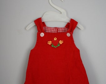 60s 70s Red Heart Applique Corduroy Jumper Dress Sz 3-6 month