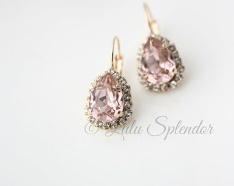 Blush Teardrop Earrings  Rose Gold Jewellery Crystal Drop  Vintage Rose Rhinestone Pink Bridal Modern Bride Formal Wedding Jewelry  DROP Z15