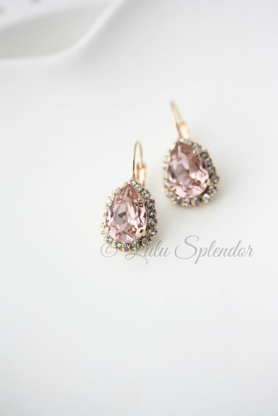 Blush Teardrop Earrings Rose Gold Jewellery Crystal Drop