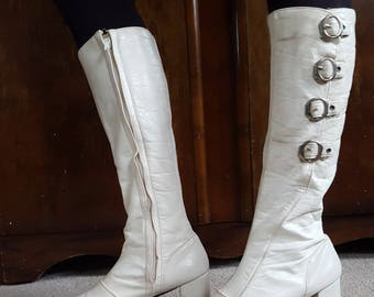 Original vintage groovy 1960s mod space age psychedelic white leather buckle knee high go-go boots UK 4 / 4.5 / EU 37 US 8.5
