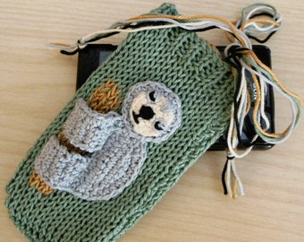 Unique Phone Case Crochet Sloth Phone Case, Hand Knit iPhone Sleeve, Organic Cotton, Fun Animal, Mobile Phone Case, Smart Phone, Sloth Gifts