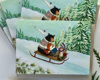 Set of 6 Cards // Holiday Cards // Christmas Cards // Woodland Winter // Solstice Cards / Sledding / Black Bear / Owl / Fox / woodland art