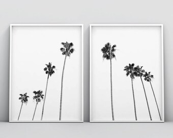 Black and White Palm Trees Print, Black and White Tropical Tree Print, 2 Piece Wall Art, Palm Trees Wall Art, Palm Tree Photo Tropical Decor