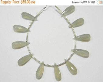 11 pieces -- 6x18 mm approx-- Apple Green Chalcedony Faceted Drops Briolettes