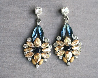 Rhinestone Earrings, Statement Earrings, Luxe Earrings, Holiday Jewelry