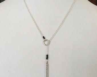 Silver Lariat Necklace, Black Onyx, Silver Lariat, Y Necklace