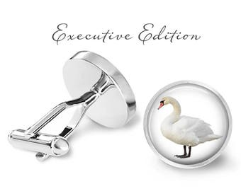 Swan Cufflinks - Swan Cuff Links - Bird Cufflink - White Swan Wedding - Trumpeter Swan (Pair) Lifetime Guarantee (S0109)
