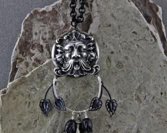 Green Man Renaissance Faire Necklace Silver and Black Charm Necklace