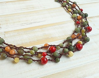 Colorful bib necklace, Multi stones necklace, Multi color necklace,  Beaded necklace, Boho chic necklace,  Rustic necklace