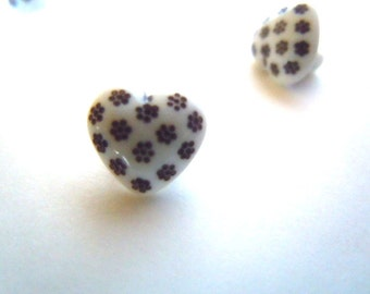 Heart Buttons Black White Valentine Day Sewing Supplies Seamstress Gift