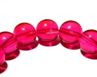 30 pearls 10 mm translucent glass - round glass bead - bright - K08 fuchsia