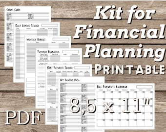 "Kit for Financial Planning 8,5"" x 11"" PDF, Financial Printable, Bill Organizer, Budget Planner, Filofax Personal Inserts Undated. Grayscale."