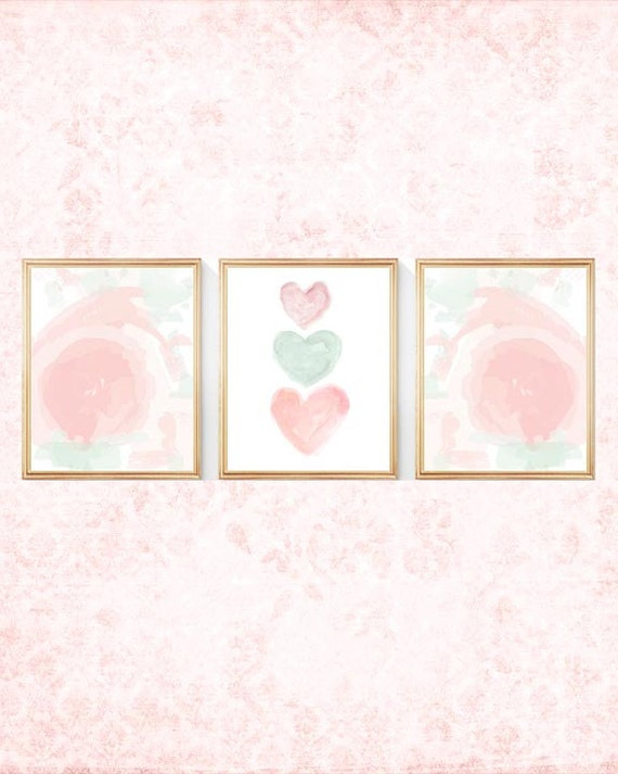 Blush and Mint Nursery Print Set, 8x10, Set of 3