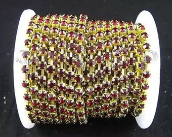 Red Rhinestone in gold setting by the yard 2mm     X11