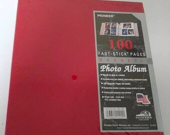 On Sale Pioneer Photo Album, Christmas Red, Fast-Stick Pages, 100 Pages, Magnetic Pages, True Red Scrapbook, Craft Album, Sealed