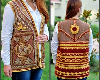 Long crochet vest Embroidered vest Crochet waistcoat Tribal vest Boho vest Women's crochet vest Brown vest Sleeveless loose vest Hippie vest