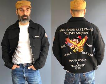 1980's Wool Souvenir Tour Jacket USS Nashville (LPD-13)